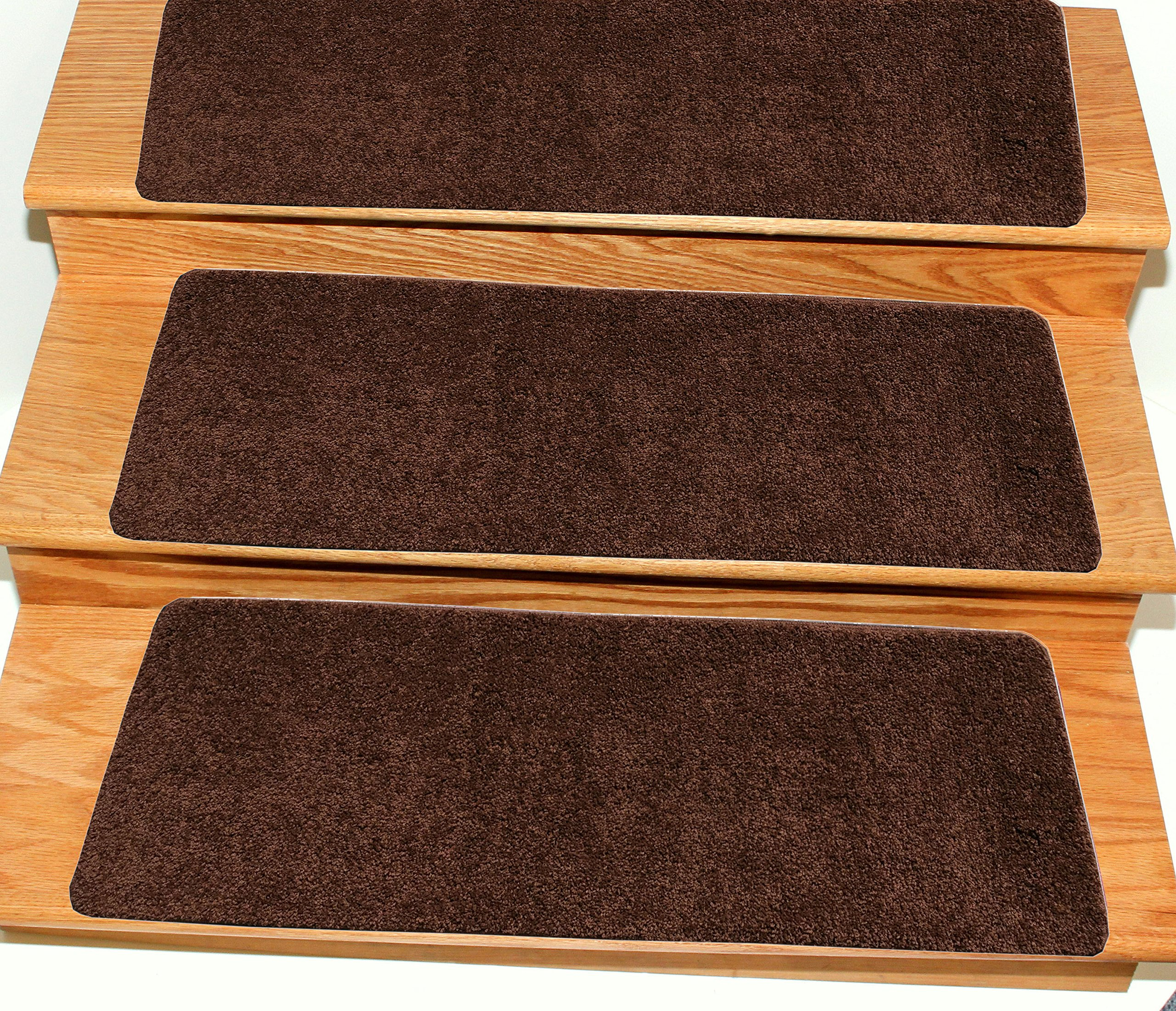 Ottomanson Comfort Collection Soft Solid (Non-Slip) Shag Carpet Stair Treads, 9'' X 26'', Brown, 5 Pack