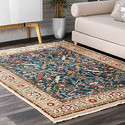 Traditional Rug Persian Floral Design Rugs Elegant Living Room Mats Blue  Red Multi Area Floor Mats