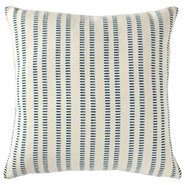 Stone & Beam French Laundry Stripe Decorative Throw Pillow, 17  x 17 , Ivory, Turquoise