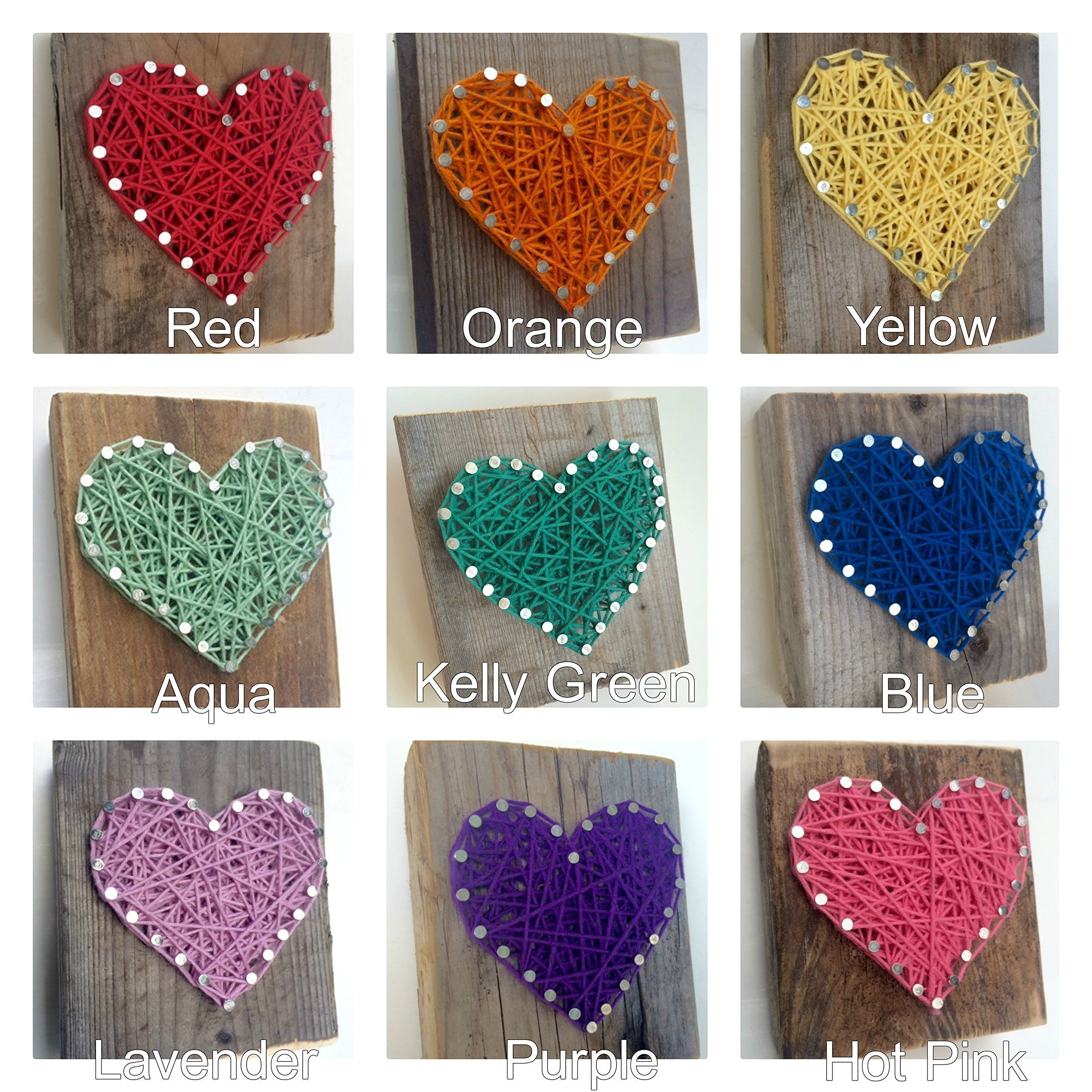 Sweet and small rustic wooden aqua string art heart block. Unique gift Easter baskets, for Father's Day, Weddings, Anniversaries, Birthdays, Christmas, housewarming and just because gifts. by Nail it Art (Image #3)