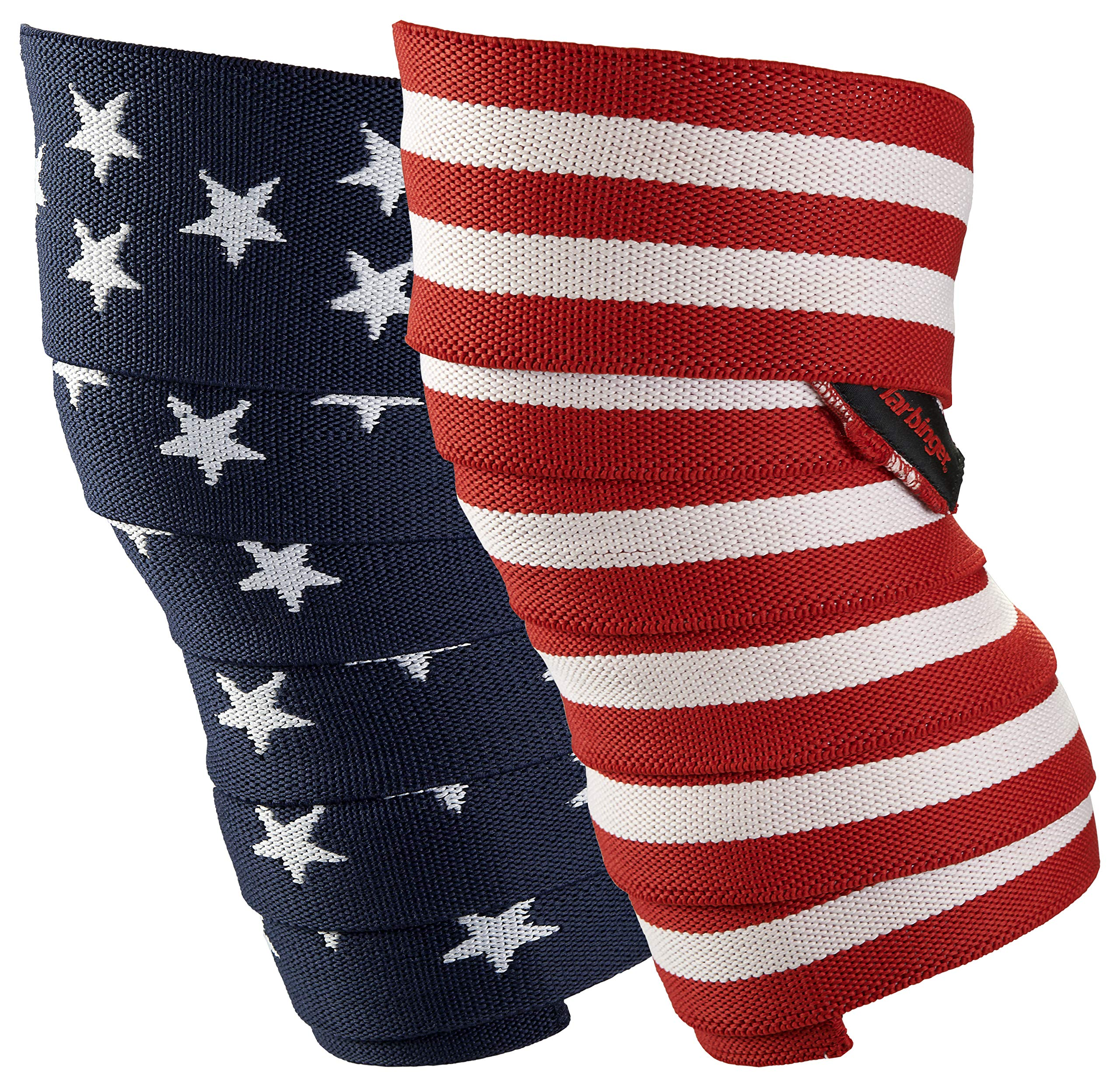 Harbinger Red Line 78-Inch Knee Wraps for Weightlifting (Pair), Flag by Harbinger