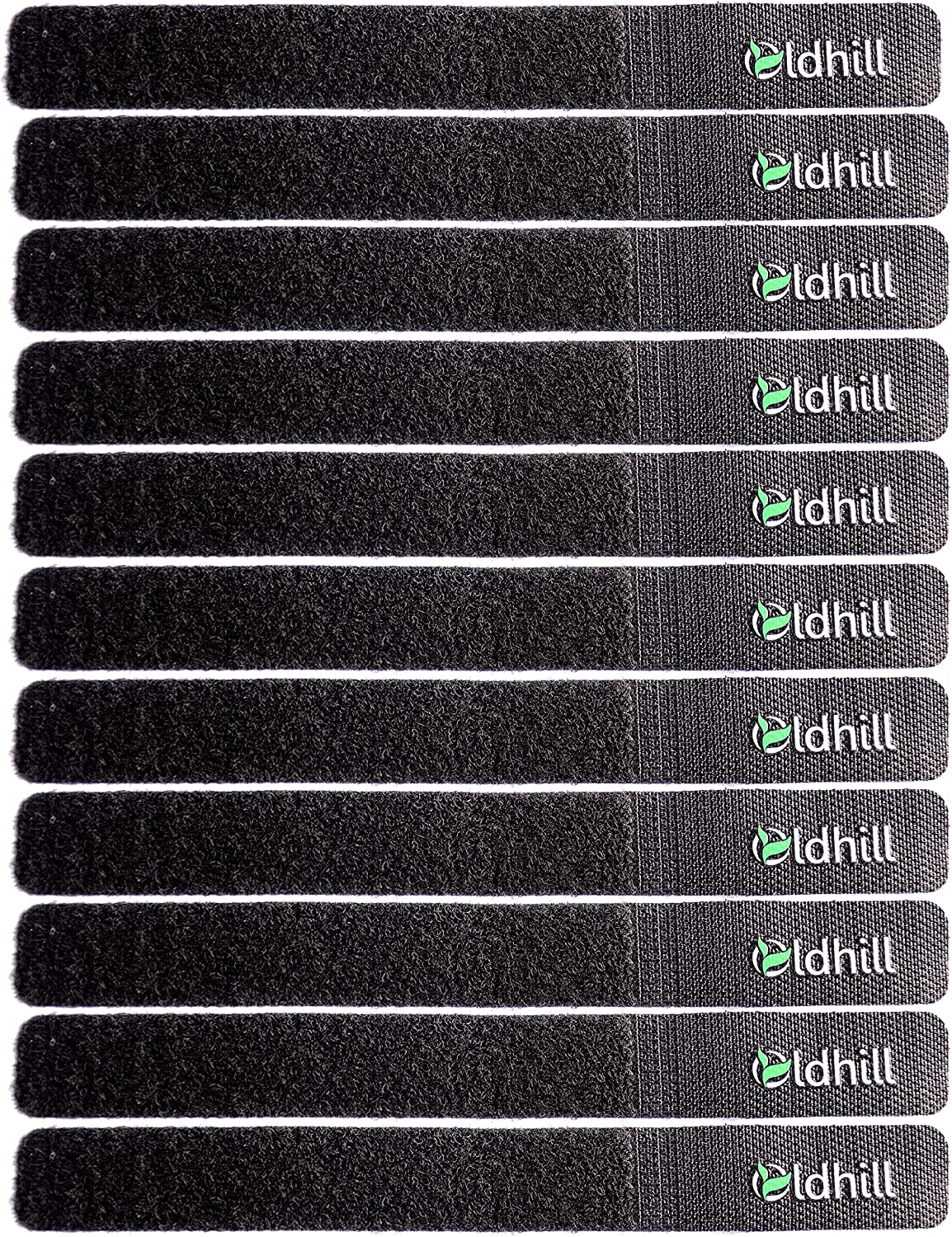 Oldhill Hook and Loop Fastening Straps (50 Pack) - Black