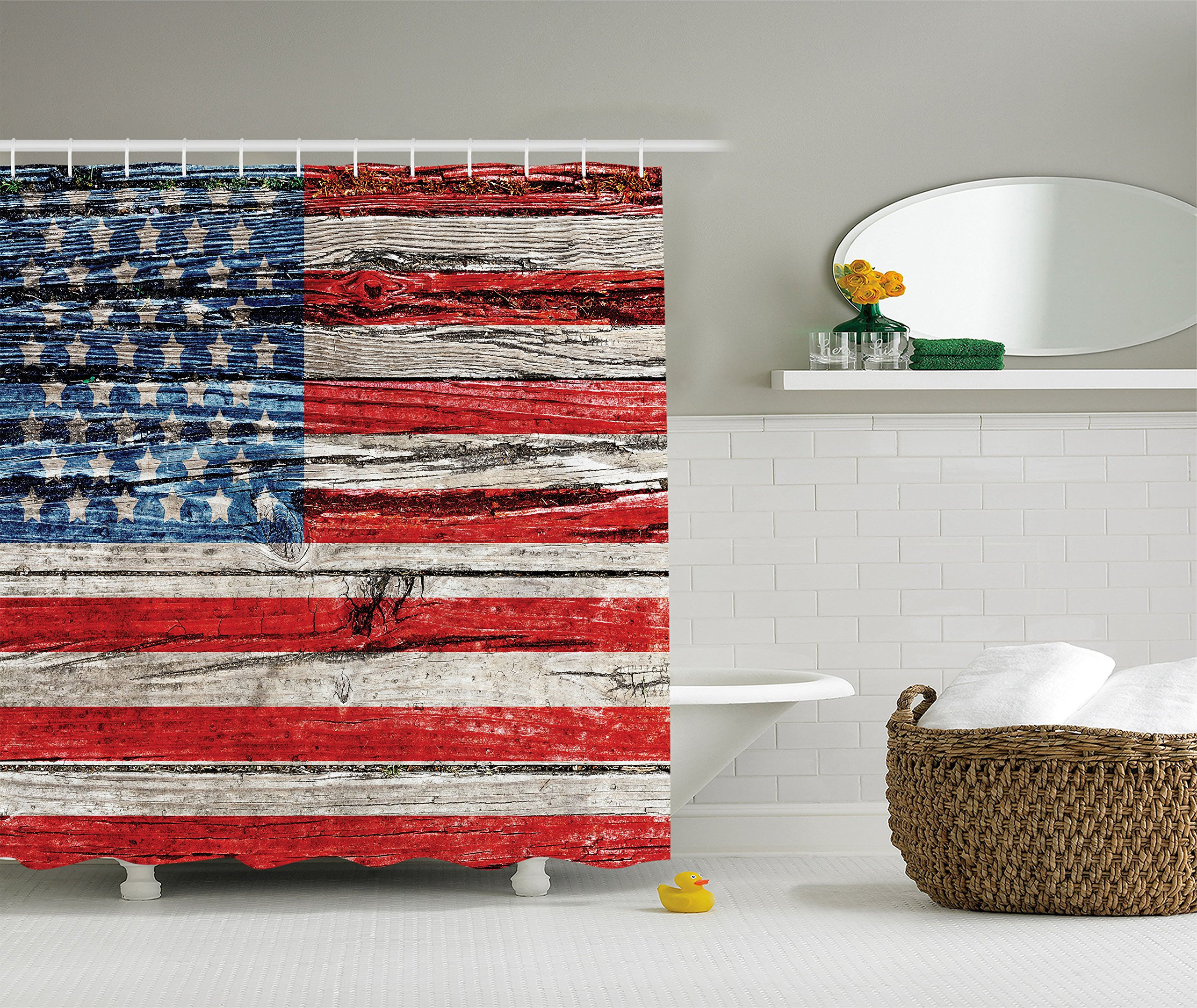 American Flag Shower Curtain USA Decor by Ambesonne, Painted Old Wooden Panel Wall Looking Freedom Symbol Print, Polyester Fabric Bathroom Set with Hooks, 69 x 70 Inches Long, Blue Red