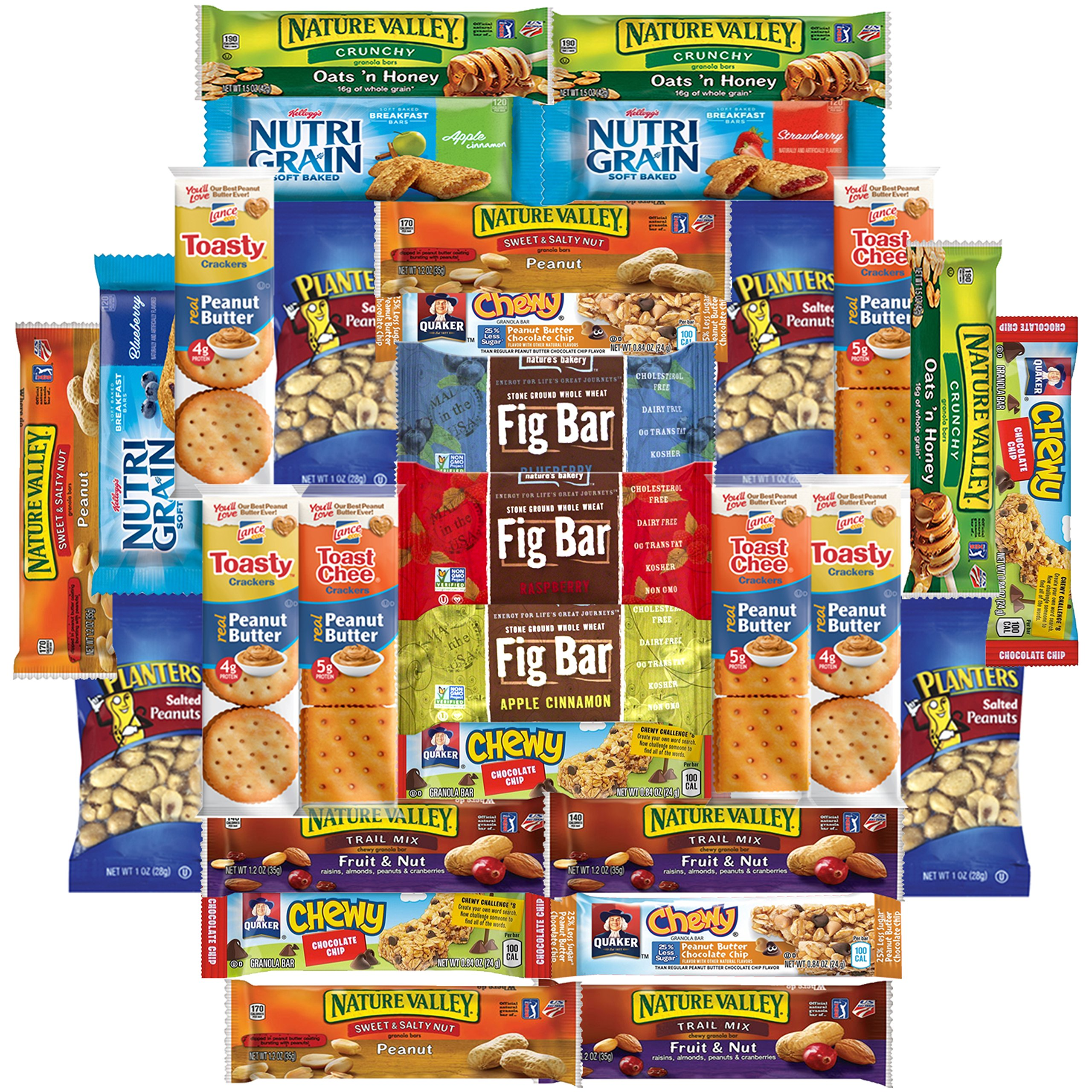 Healthy Bars, Crackers & Nuts Care Package Bulk Sampler Variety Pack Includes Nature Valley, Nutri Grain, Quaker Chewy, Fig Bars, Planters Peanuts & More (30 Count) by Snack Chest