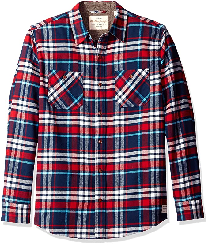 1920s Men's Dress Shirts Weatherproof Vintage Mens Long Sleeve Flannel Shirt $69.50 AT vintagedancer.com