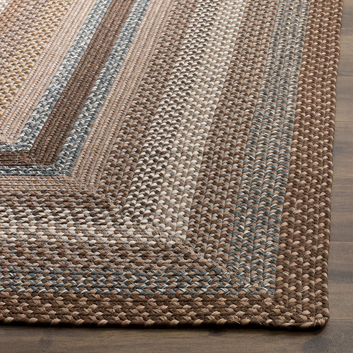 Safavieh Braided Collection BRD313A Hand Woven Brown and Multi Square Area Rug (6 Square)
