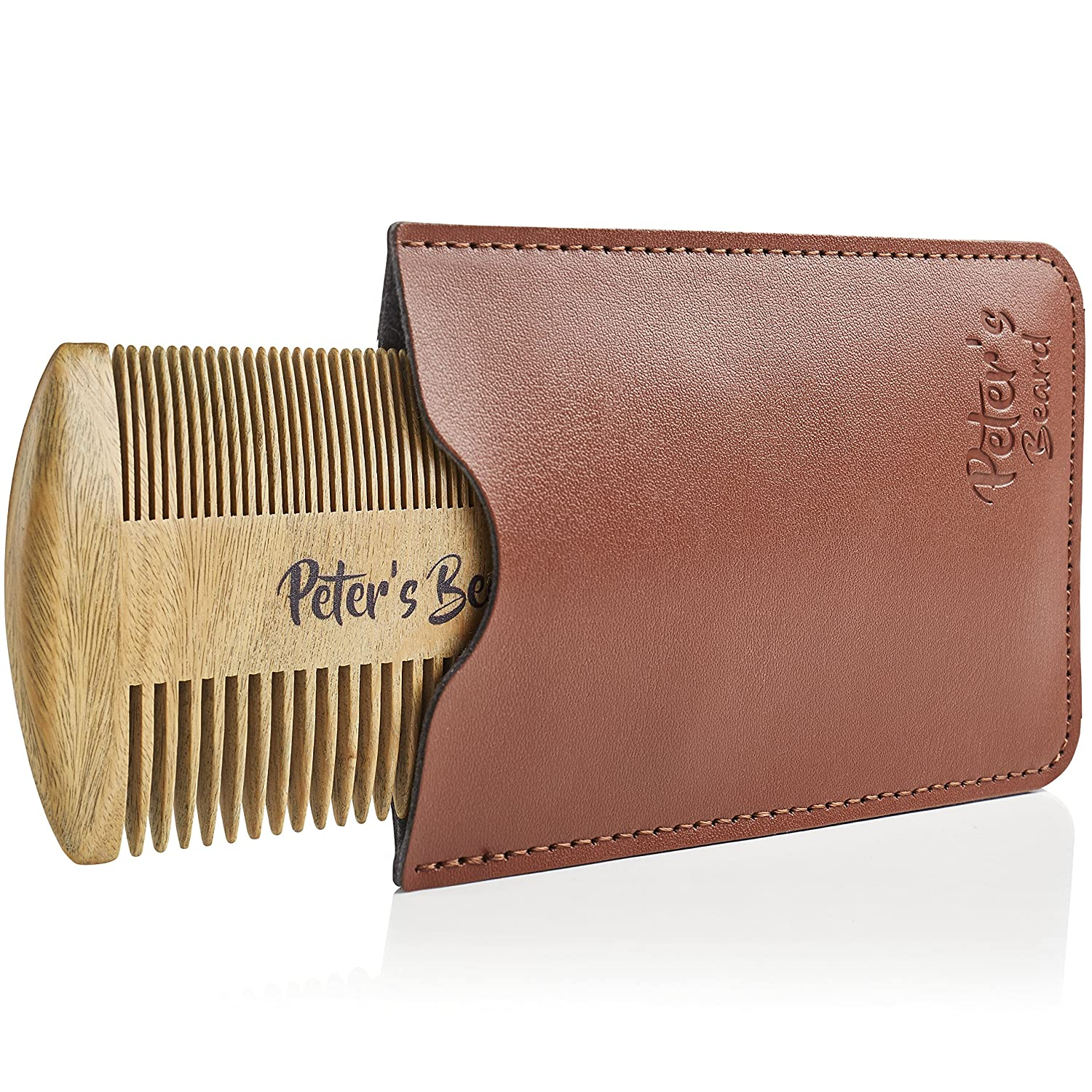 Beard Comb Wooden - Gift Set Small Wood Kit Brush Pocket Fine Dual Comb with Leather Case Pouch - Perfect with Beard Oil Balm Wax Scissors - Antistatic Comb for Men Presented in Deluxe Gift Box Peter's Beard