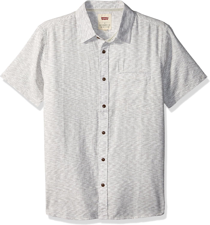 Levis Hombre 3LDSW12201 Manga Corta Camisa de Botones - Blanco - Large: Amazon.es: Ropa y accesorios