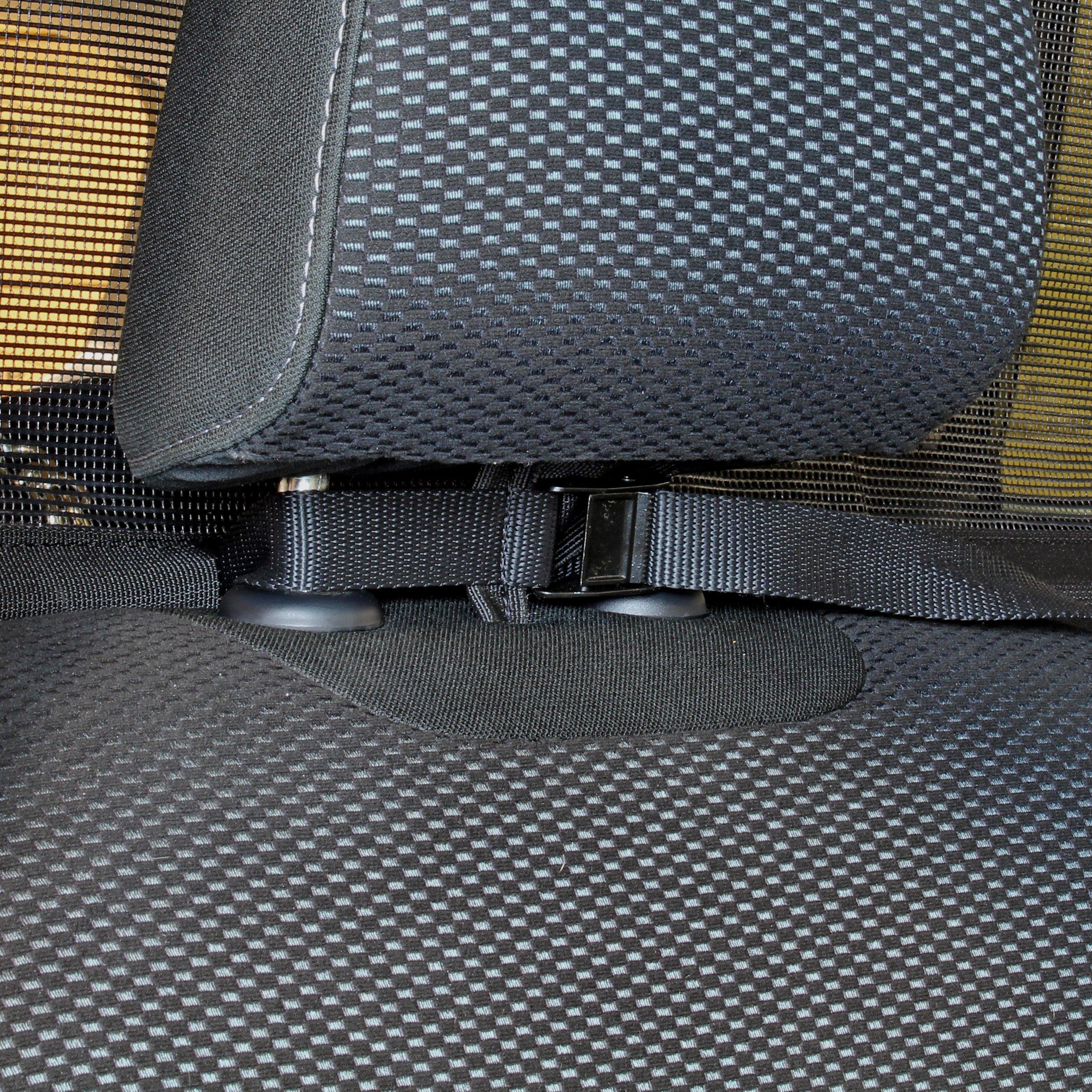 Bushwhacker - Paws n Claws Deluxe Dog Barrier 56'' Wide - Ideal for Trucks, Large SUVs, Full Sized Sedans - Pet Restraint Car Backseat Divider Vehicle Gate Cargo Area Travel Trunk Mesh Net Screen by Bushwhacker (Image #3)