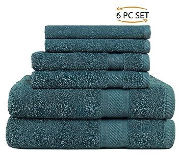 SweetNeedle - Uso diario Juego de toallas de 6 piezas, Teal - 2 toallas de baño 70x140 CM, ...