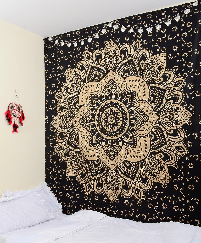 Tapiz de Craftura con mandala en tonos oro y negro ideal para colgar en la pared, 100% algodón, 213cm x 229cm 100% algodón 213cm x 229cm