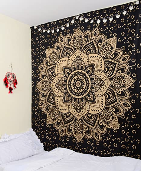 Original Gold Black Passion Wall Hanging   Ombre Mandala Tapestry   Indian  Wall Decor   Bohemian