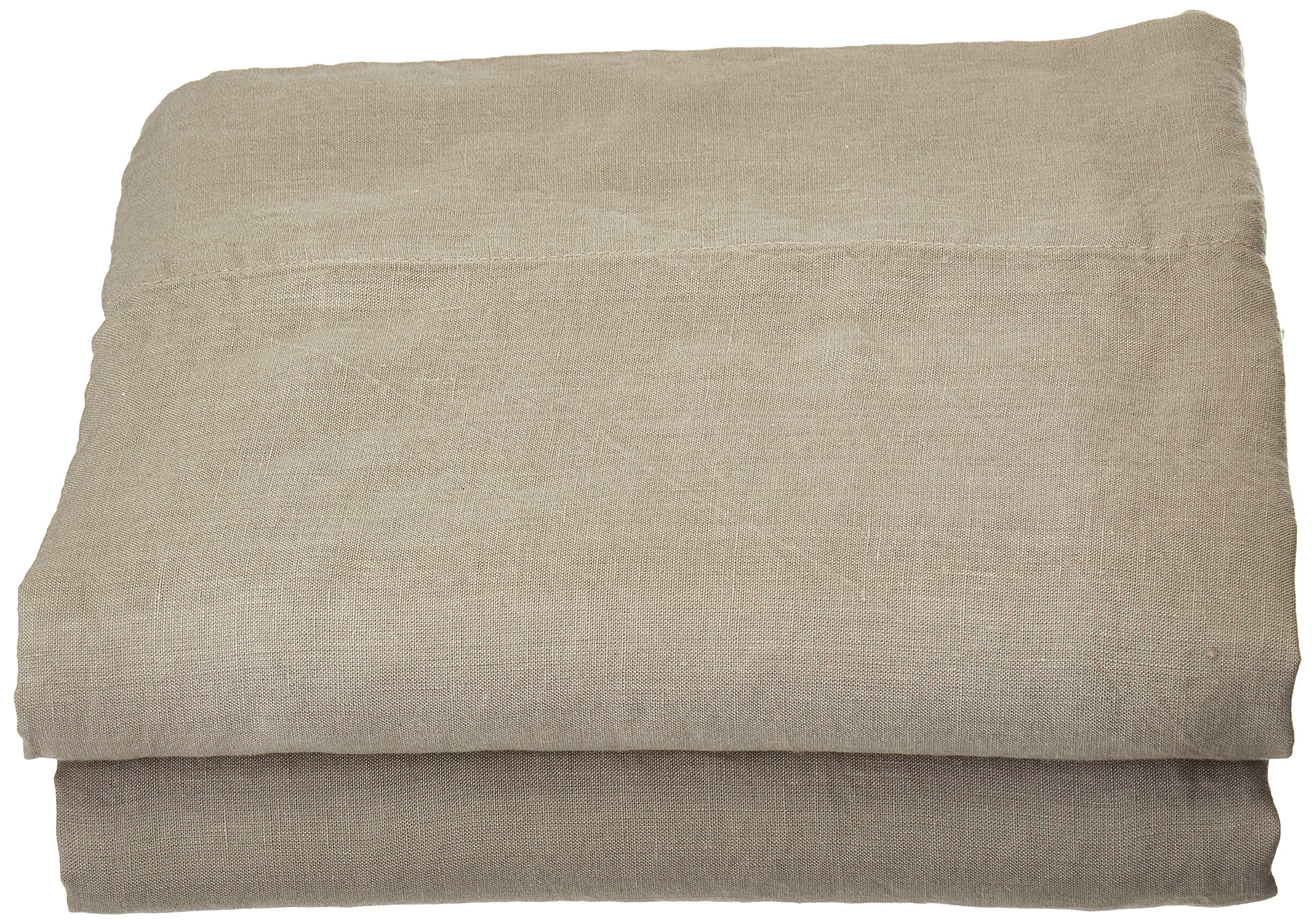 LinenMe Stone Washed Bed Linen Flat Sheet, 66 by 102-Inch, Taupe