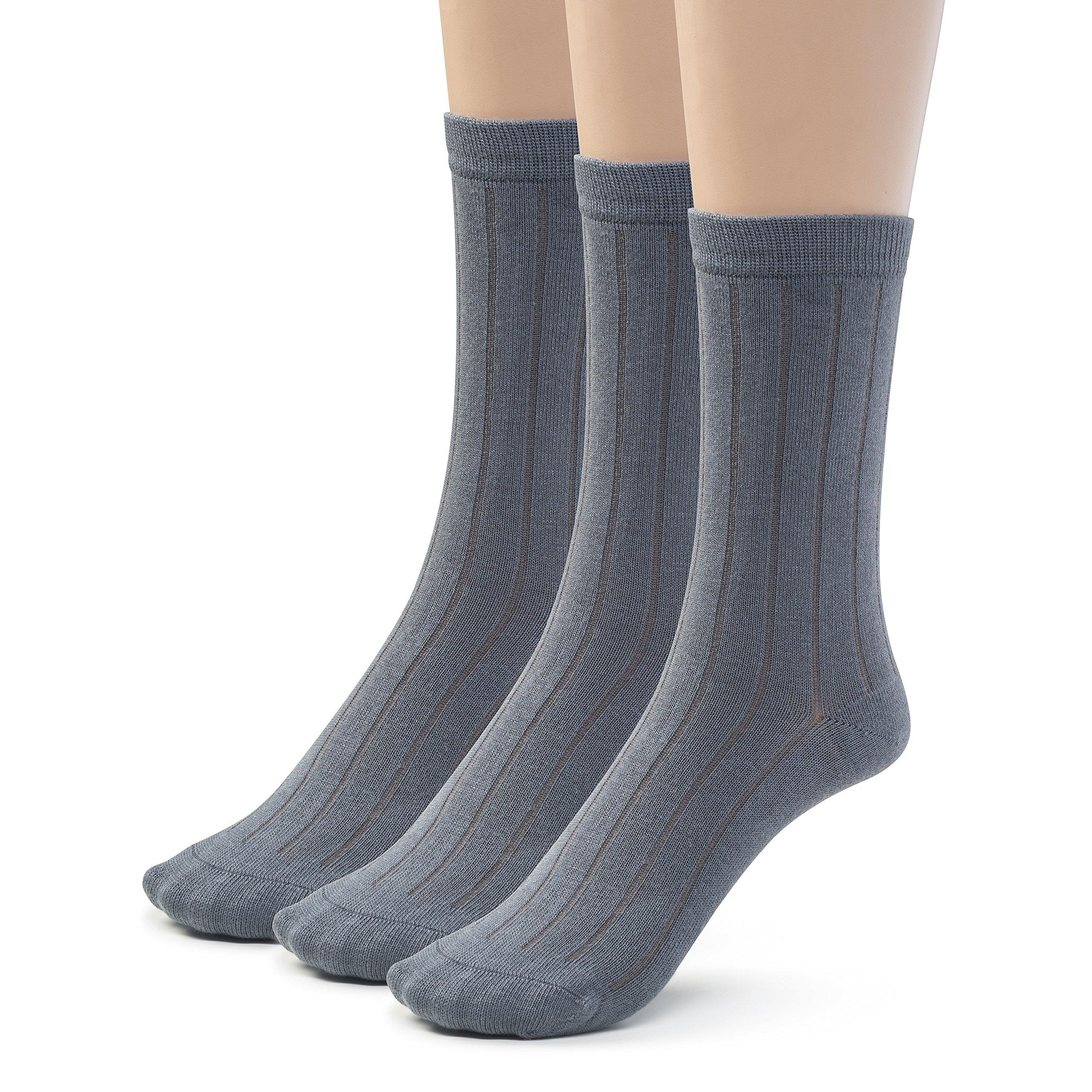 Silky Toes 3 Pairs Womens Bamboo Ribbed Dress Socks, Casual Basic Socks … (10-13, Heather Grey -3 Pairs)