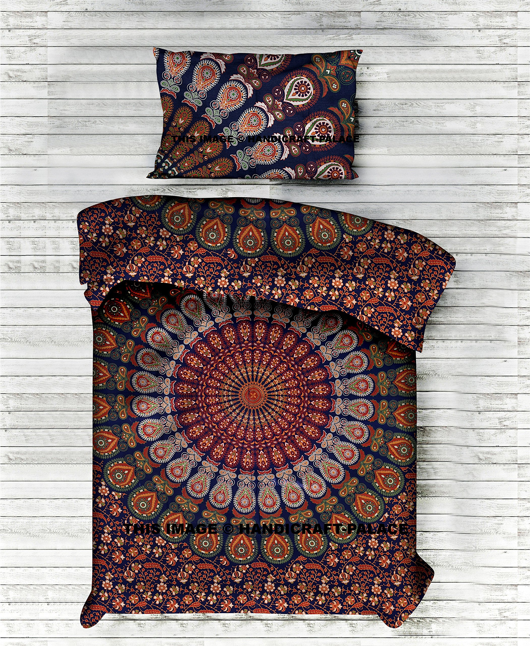 Indian Art Cotton Duvet Covers By ''Handicraftspalace'' , Peacock Mandala Duvet Cover Twin size Hippie Quilt Doona Cotton Cover Throw Bohemian Gypsy