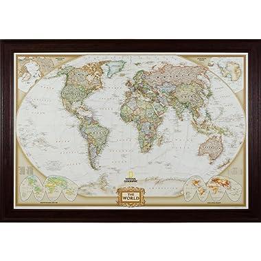 Craig Frames Wayfarer, Executive World Push Pin Travel Map, Mahogany Red Frame and Pins, 24 by 36-Inch