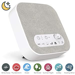 White Noise Machine Sound Machine with Natural Soothing Sounds, USB Charger, Adjustable Volume, Headphone Jack, Auto-Off Timer, Portable for Home Office Travel