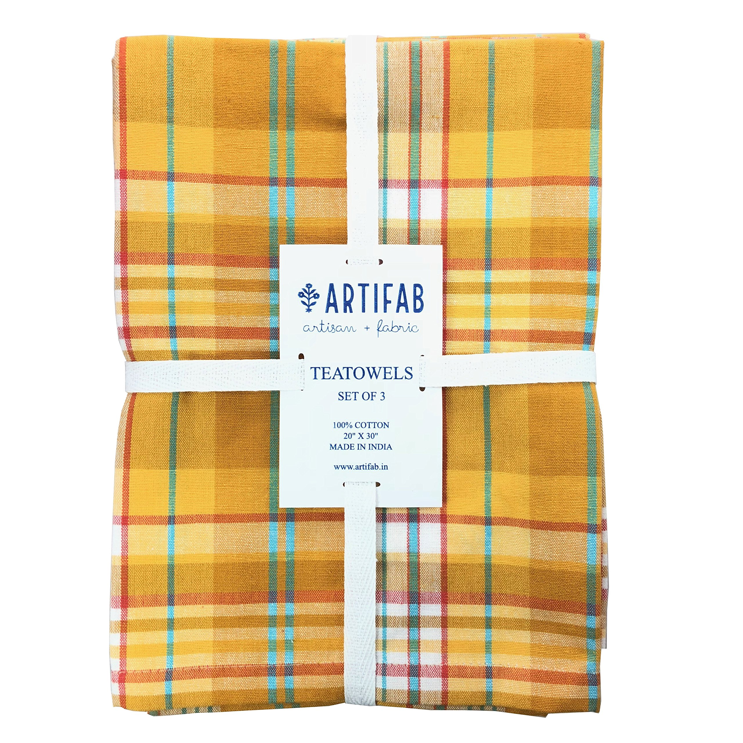 Kitchen Towels, 100% Cotton, Set of 3, Fire Yellow Stripe Dish Towels of Size 20 X 30 Inch