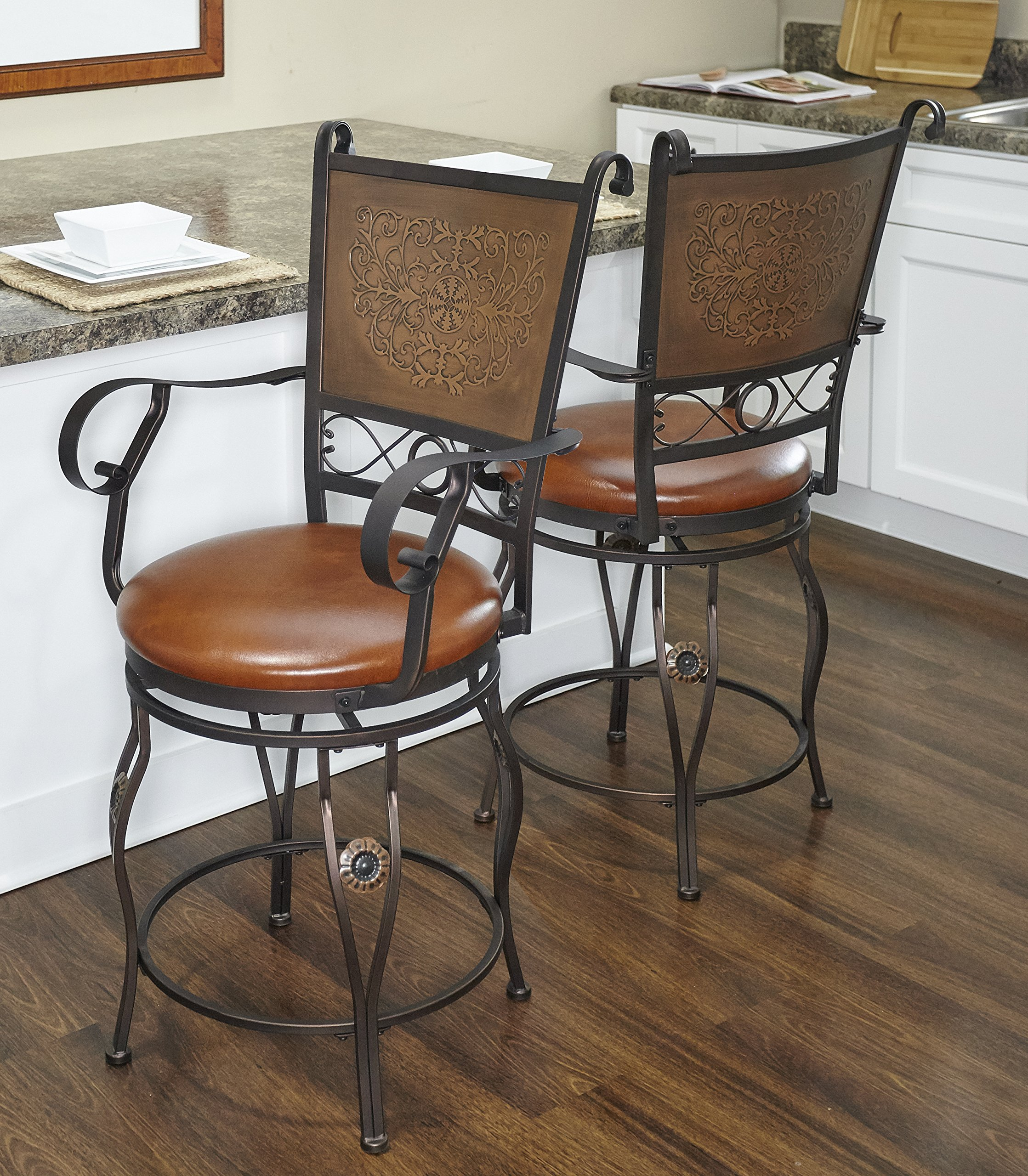 Big and Tall Copper Stamped Back Arms Counter Stool