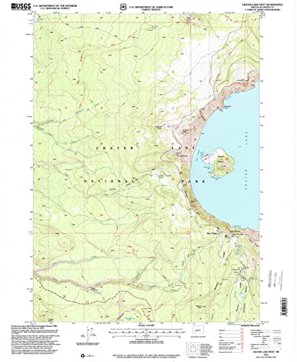 Crater Lake Topographic Map.Amazon Com Yellowmaps Crater Lake West Or Topo Map 1 24000 Scale