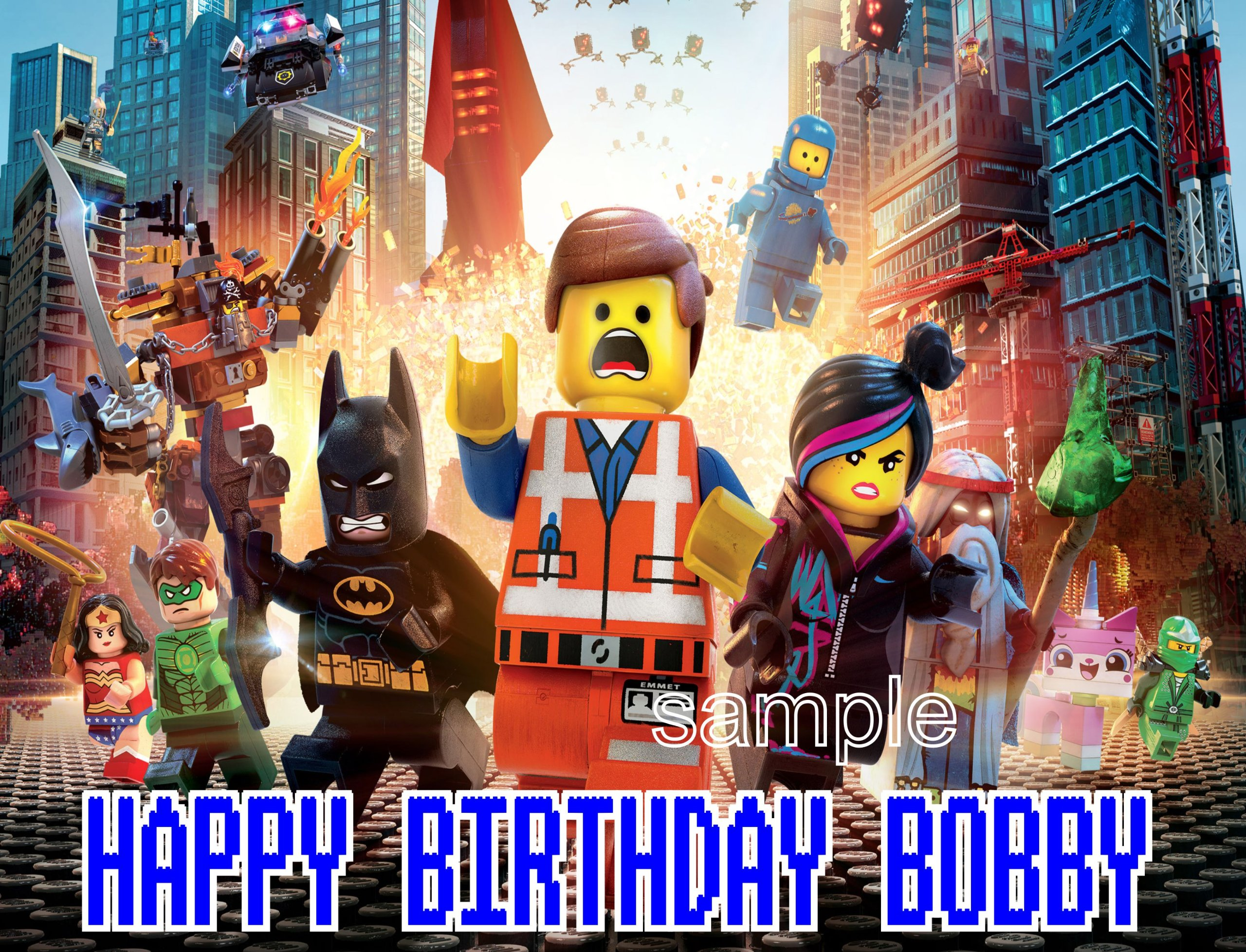 The New Lego Movie Edible Cake Topper Frosting Sheet. 10 x 16 size cake topper