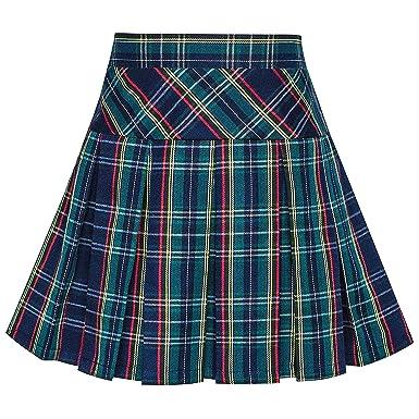 e63db3eaa95709 Sunny Fashion Girls Skirt Back School Uniform Peacock Green Tartan Skirt  Age 6 Years