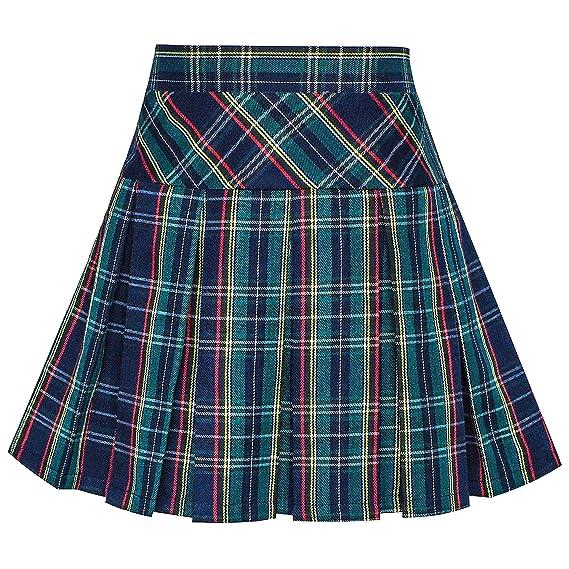 3252511720 Sunny Fashion Girls Skirt Back School Uniform Peacock Green Tartan Skirt  Size 6 Years