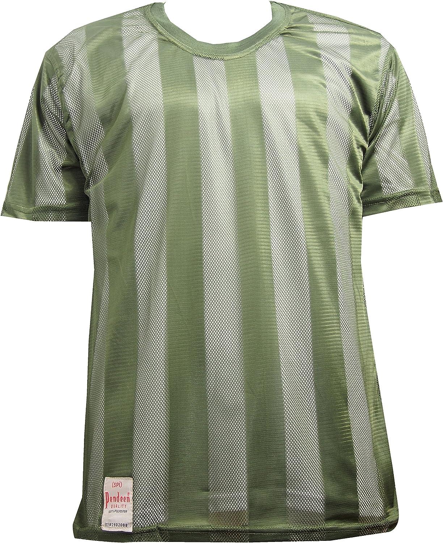 Pendeen Mens Premium Self Stripe Mesh Fishnet String Short Sleeve T-Shirt Loose Fit