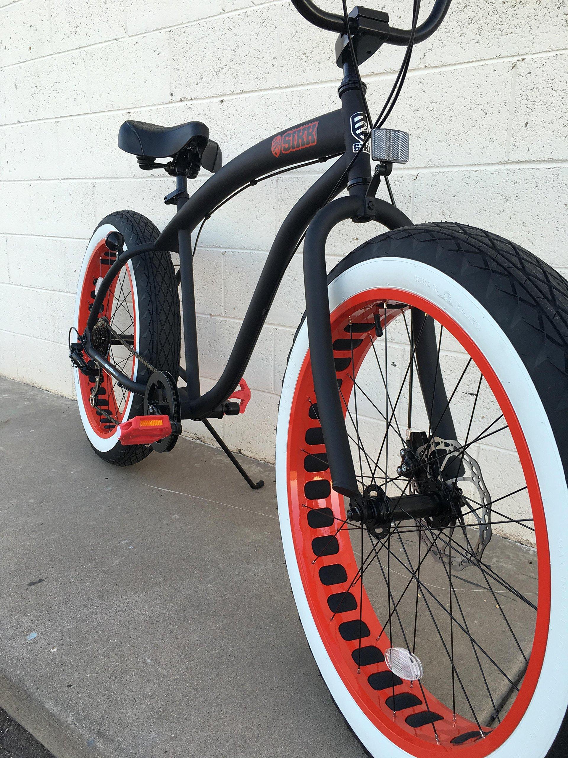 Sikk Fat Tire Beach Cruiser Bicycle 7 Speed Flat Black Red