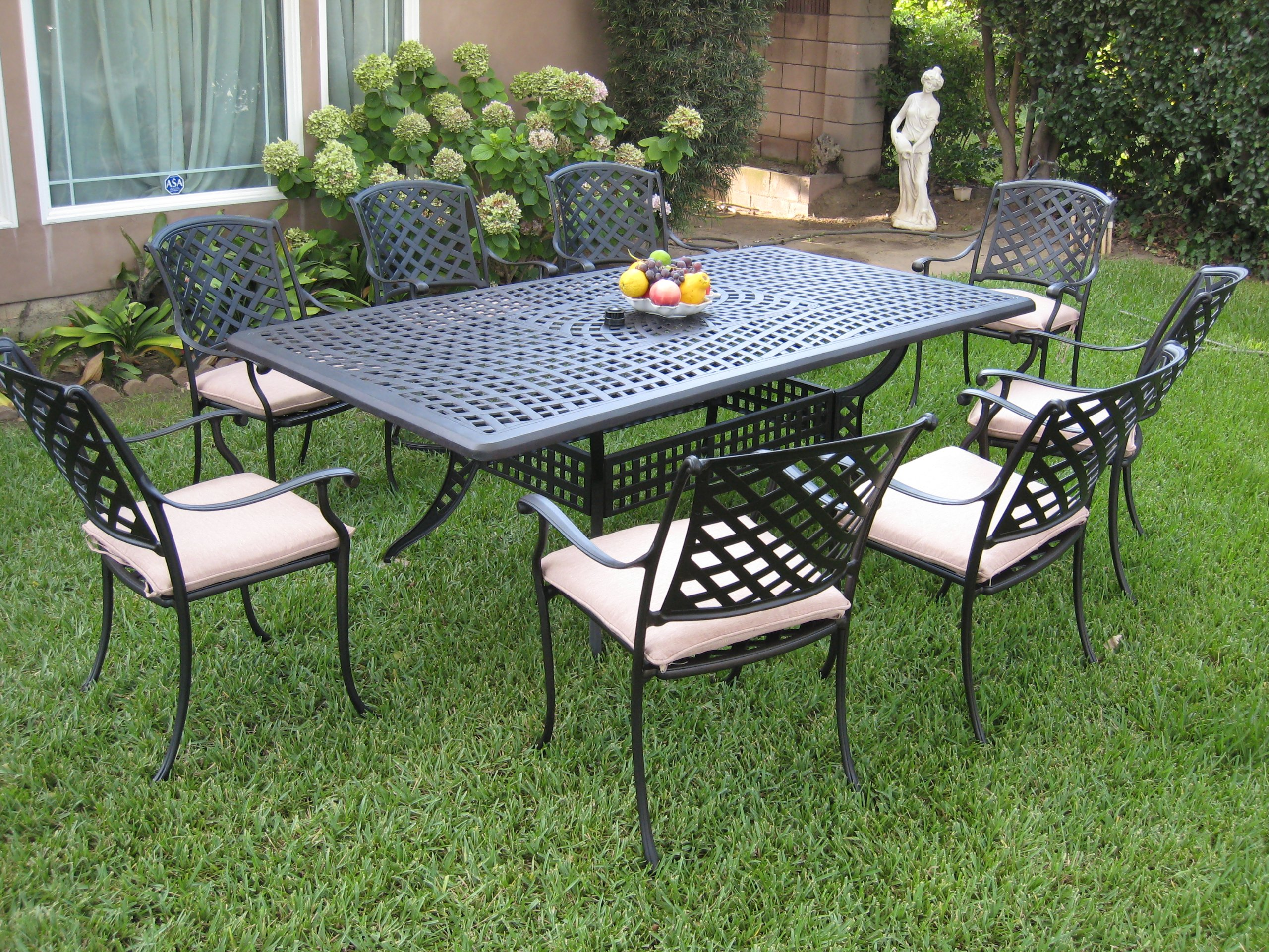 Outdoor Cast Aluminum Patio Furniture 9 Piece Dining Set ML8444RT CBM1290 - Made of genuine cast aluminum,Comfortable seating Durable and quality. Assembly required. Color: Desert Brown Slate Finish. Includes: 8 Armchairs and with free Cushions 1 Large table Chairs dimensions: 36.2H x 17.7 Seat Deep x 24.4 - patio-furniture, dining-sets-patio-funiture, patio - A1nrwHeETDL -