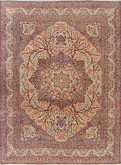 Rug Source One Of A Kind Kirman Traditional Medallion 11x14 Brown Wool Antique Area Rug 14 3 X 10 9 Kitchen Dining