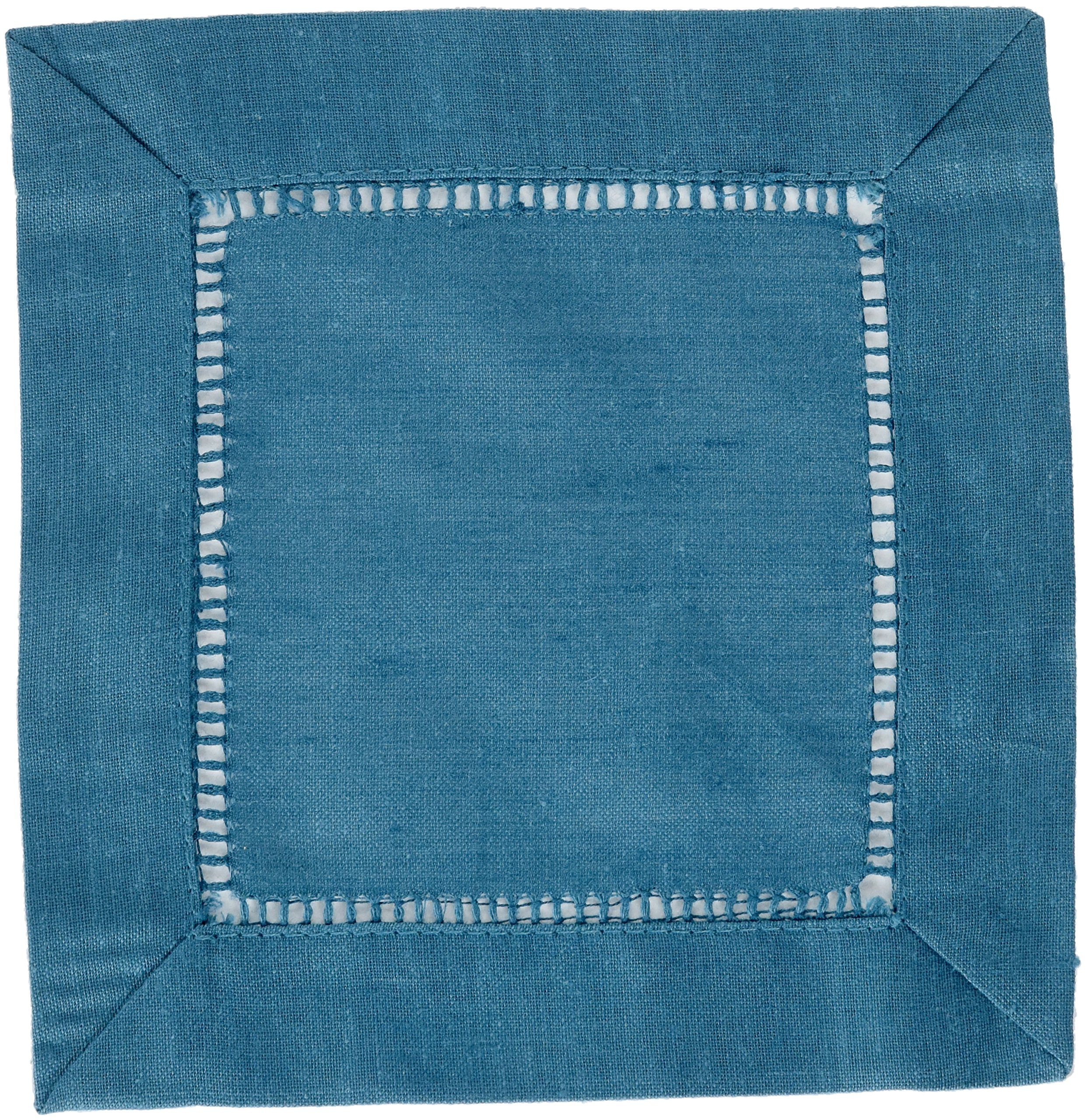 SARO LIFESTYLE 6100C.IN6S 24/7 Everyday Collection Hemstitched Cocktail Napkin (Set of 12), 6'' Square, Indigo