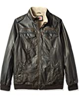 Levi's Men's Tall Size Vintage Deer Faux Leather Aviator Bomber With Full Sherpa Lining
