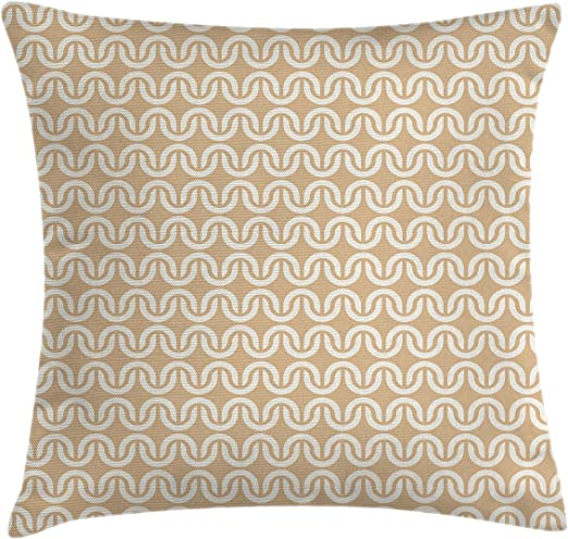 Amazon Com Ambesonne Abstract Throw Pillow Cushion Cover Symmetrical Wavy Lines Mesh Chain Pattern Curvy Repeating Vintage Design Decorative Square Accent Pillow Case 24 X 24 Sand Brown Cream Home Kitchen