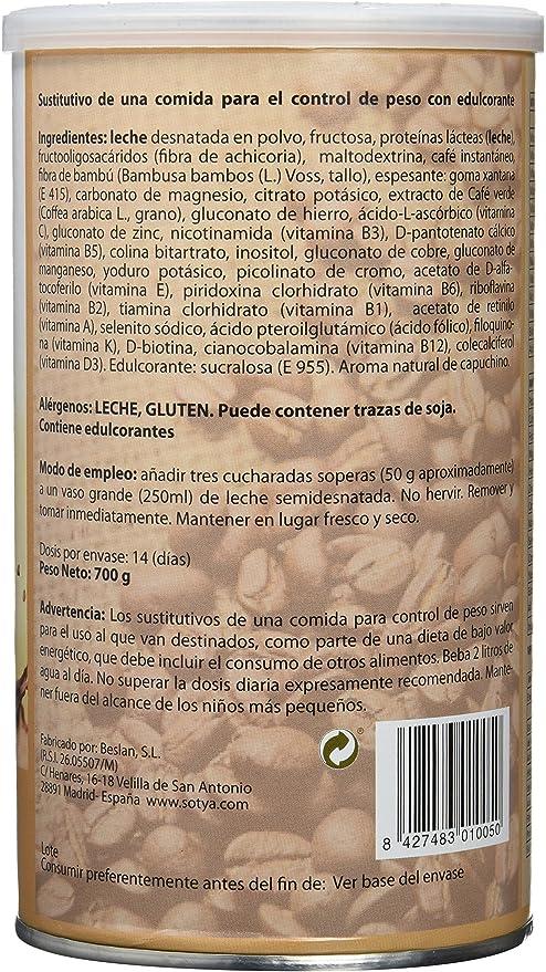 Sotya Saciantes, Batidos con sabor de Capuchino, 700 g: Amazon.es: Salud y cuidado personal