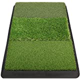 Champkey PRO Tri-Turf Golf Hitting Mat (Do Not Include Balls)| Heavy Duty Rubber Base Practice Mat Ideal for Indoor and…