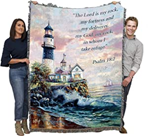 Pure Country Weavers Lord is My Rock Lighthouse - Psalm 18:2 - Carl Valente - Blanket Throw Woven from Cotton - Made in The USA (72x54)