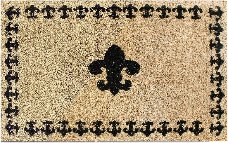 Amazon Com Imports Decor Printed Coir Doormat Fleur De Lis With Border 18 Inch By 30 Inch Garden Outdoor