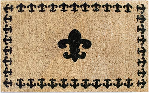 Imports Decor Printed Coir Doormat, Fleur De Lis with Border, 18-Inch by 30-Inch