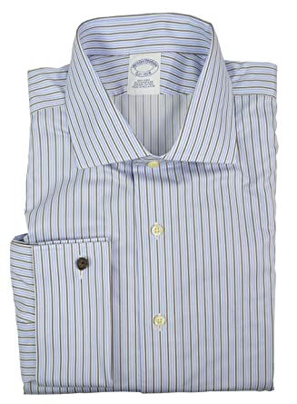 ab62a69878bf Image Unavailable. Image not available for. Color  Brooks Brothers Men s Regent  Slim Fit Non Iron Dress Shirt Blue Black White Striped ...