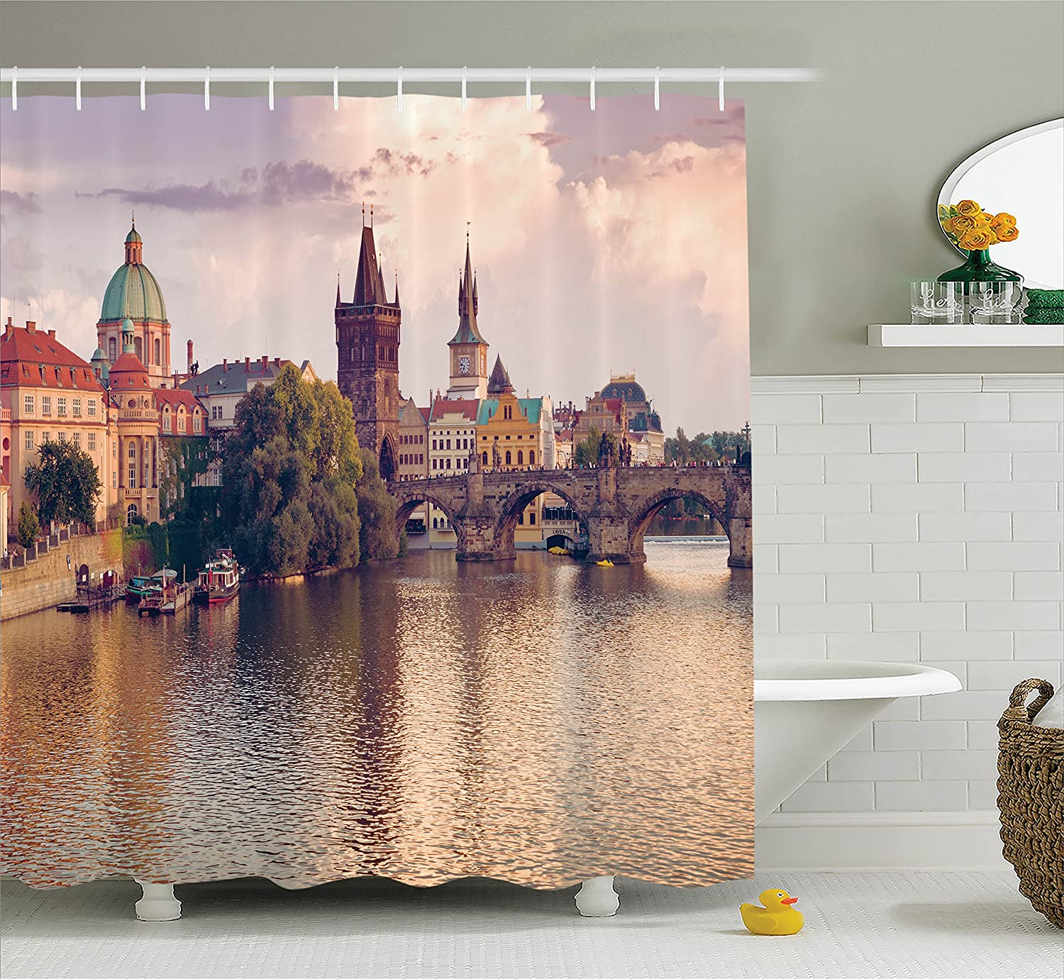 Ambesonne Landscape Shower Curtain, Pastoral View at Charles Bridge Spires of Prague Central Europe Gothic Buildings, Cloth Fabric Bathroom Decor Set with Hooks, 70