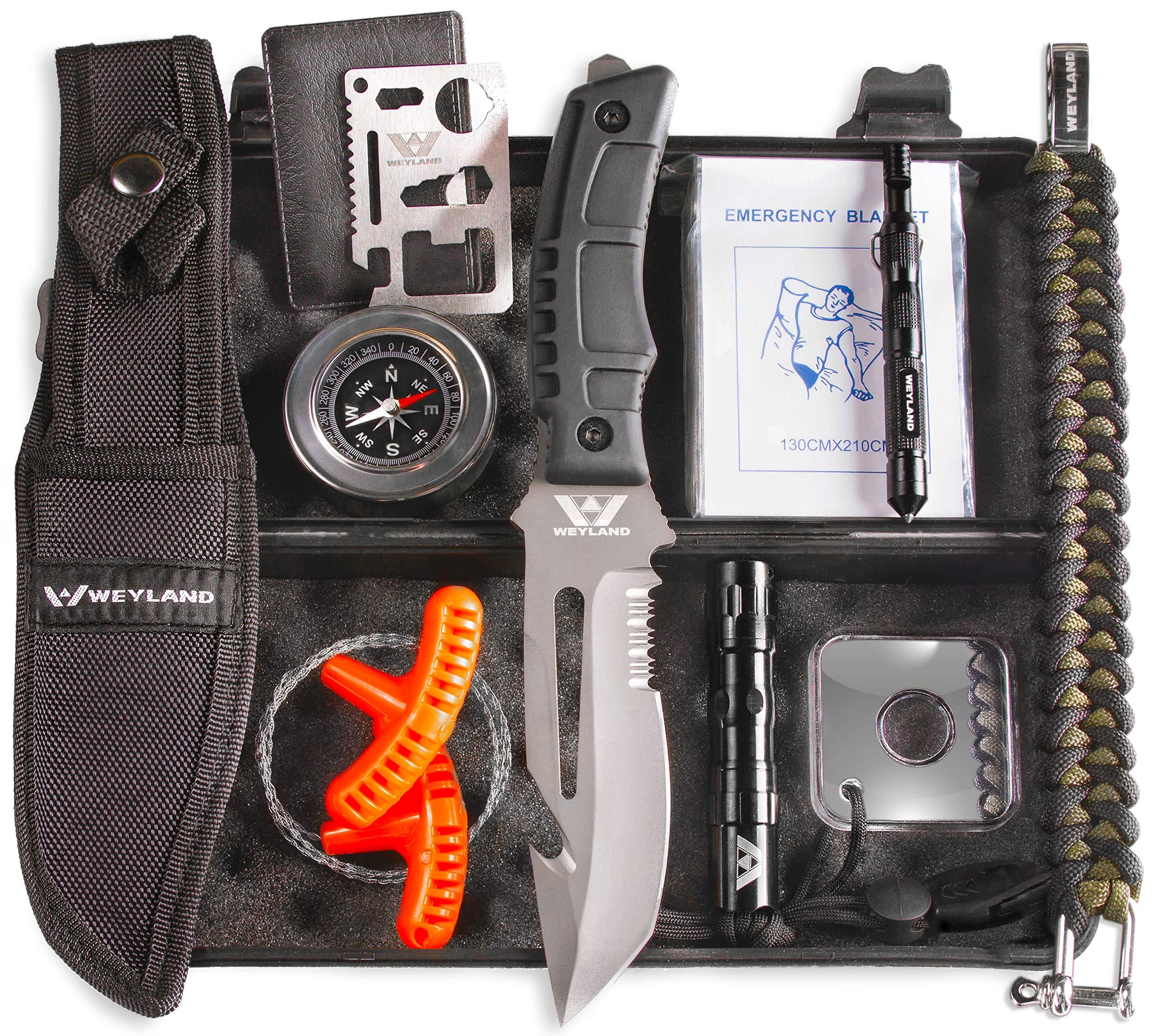 WEYLAND Outdoor Emergency Survival Kit - Tactical EDC Camping Tools and Hiking Gear with a Real Bushcraft Knife by Weyland Outdoors