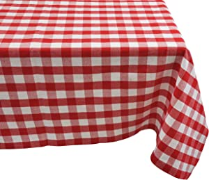 Yourtablecloth 100% Cotton Checkered Buffalo Plaid Tablecloth –for Home, Restaurants, Cafés – Be it for Everyday Dinner Picnic or Occasions Like Thanksgiving , 52x52 Square Red and White