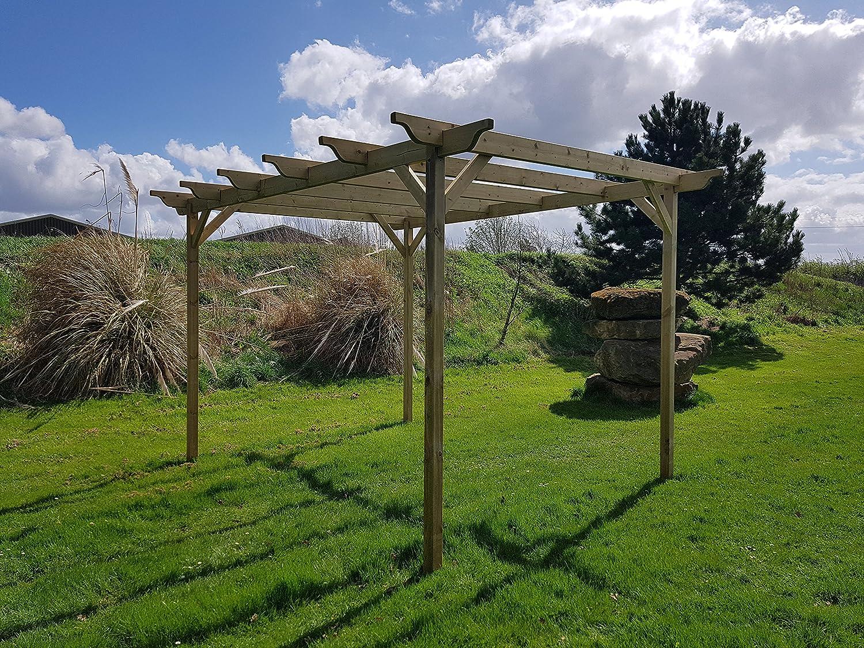 Estructura de madera jardín pérgola 3 m x 3 m – 4 puestos – Luz Verde – esculpido vigas – hecho a mano Arbour de madera tratada a presión: Amazon.es: Jardín