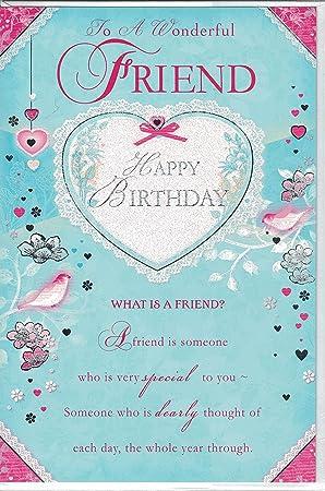 Friend Birthday Card To A Wonderful Happy Friendship Heart