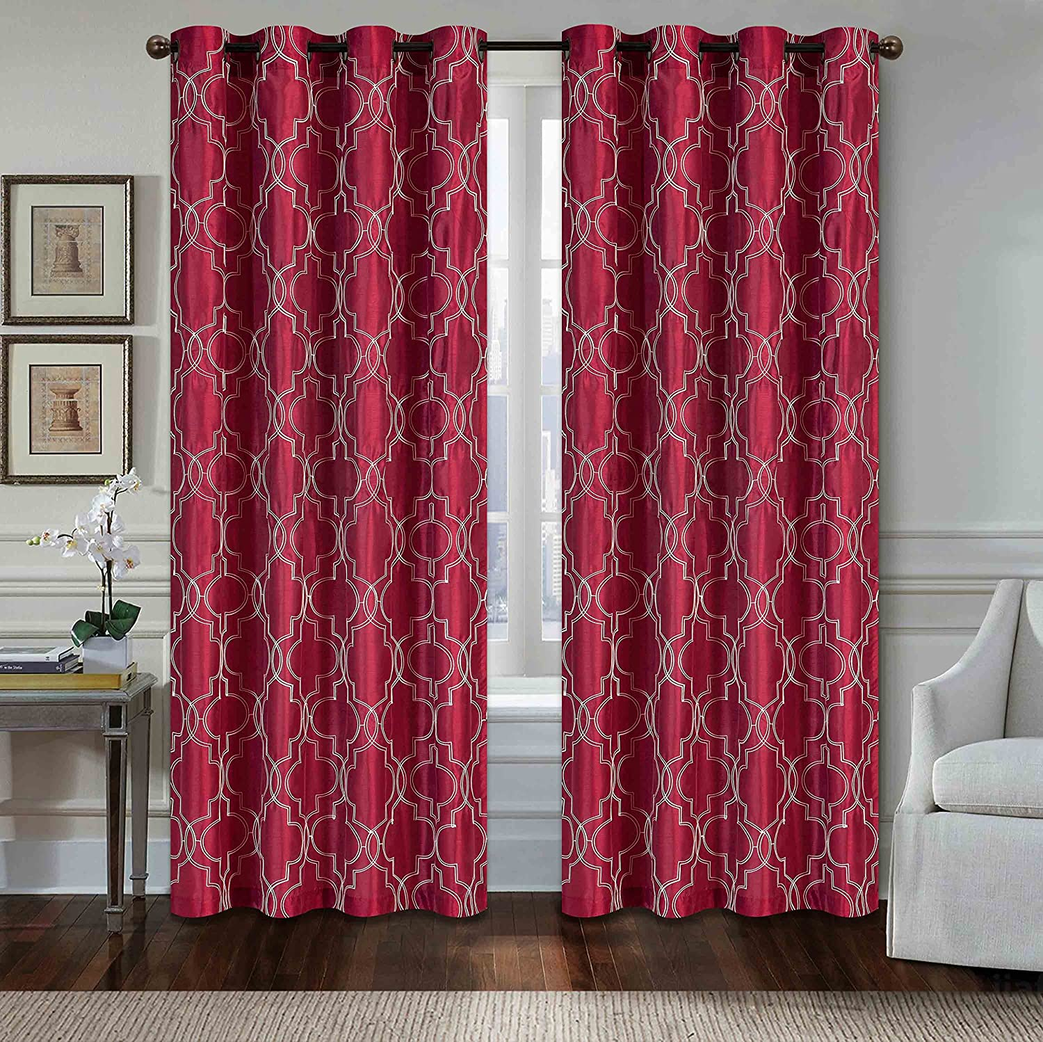 All American Collection New 1 Panel Geometric Design Faux Silk Embroidered Curtain With Grommets Burgundy