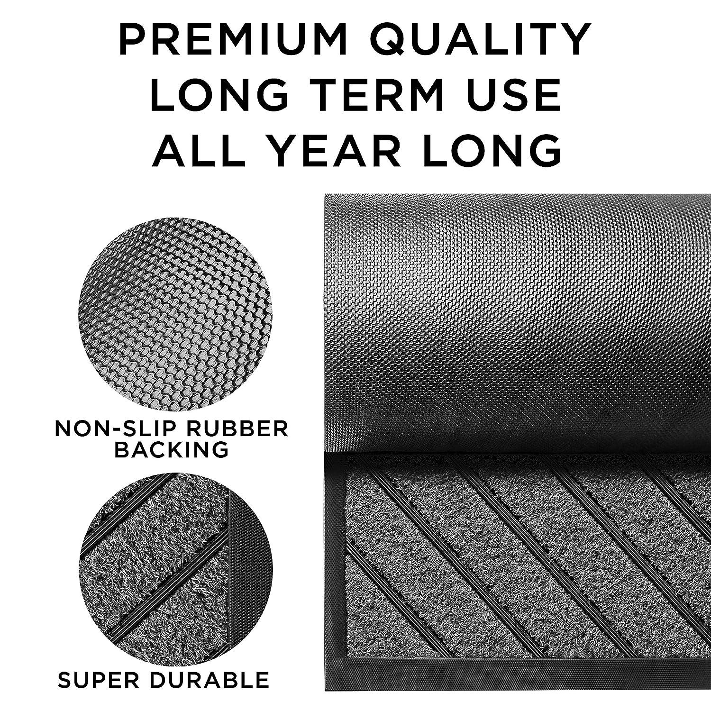 30 x 18 Rubber Doormat Outside Inside Non-Slip Entry Door Mat - Easy Clean Front//Back Door mat Extra Durable Door Mat Outdoor//Indoor Entryway Rug Dog Pet Mat Rug -/ Waterproof Floor Mat