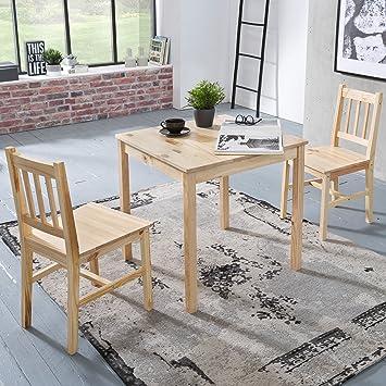 FineBuy Esszimmer Set EMILIO 3 Teilig Kiefer Holz Landhaus Stil 70 X 73