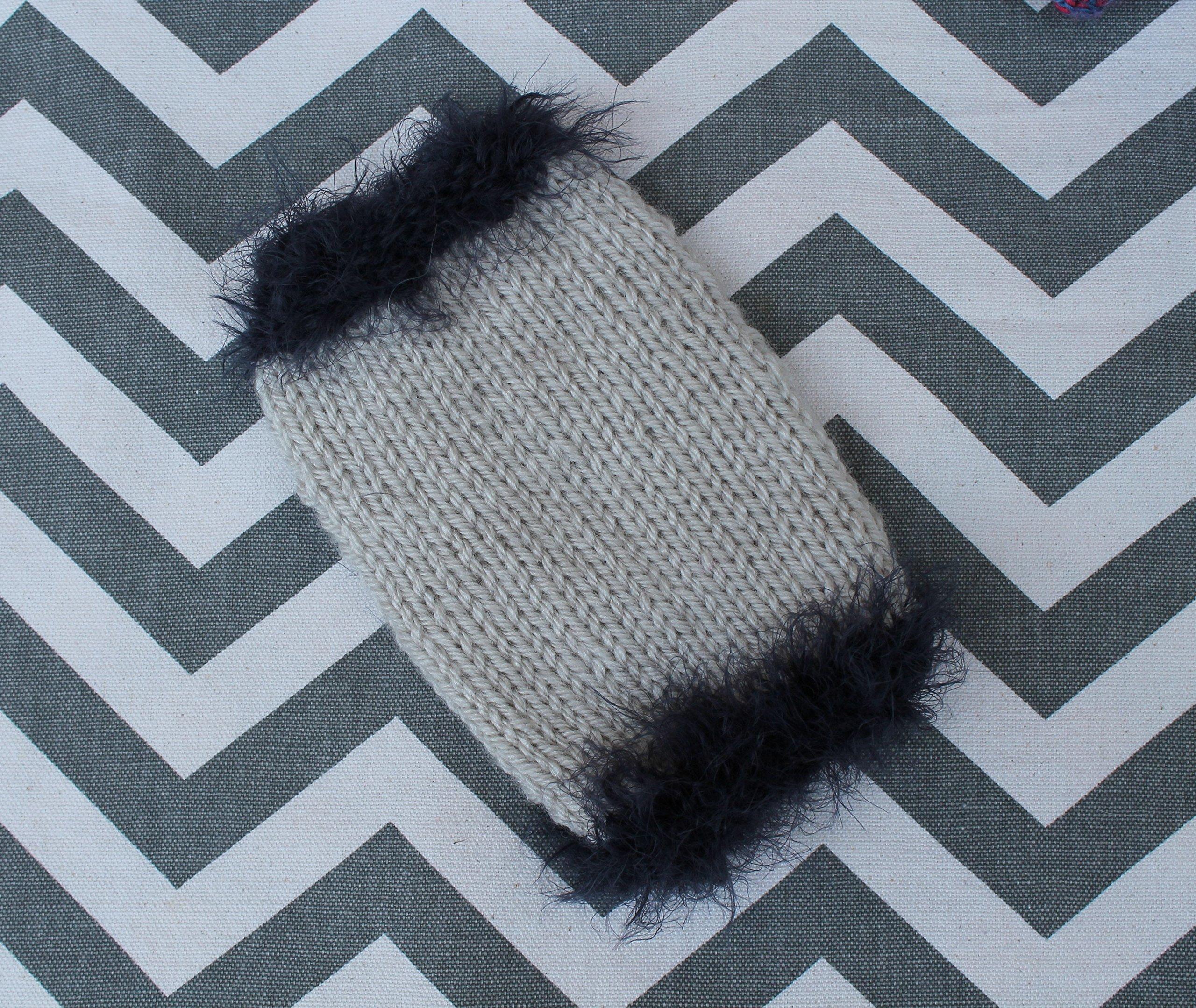 Tiny Dog/Puppy/Kitten Sweater XXXS 1 to 1.5 lbs Rustic Beige w/Deep Purple ''Fuzzy'' Fur for Chihuahua Yorkie Maltese Teacup Pomeranian Puppy