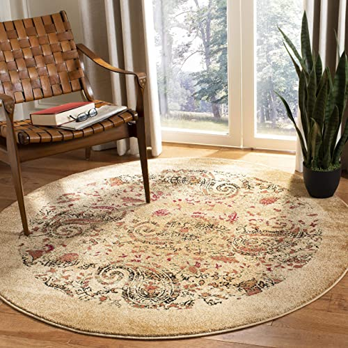 Safavieh Lyndhurst Collection LNH224A Traditional Paisley Beige and Multi Round Area Rug 5'3″ Diameter